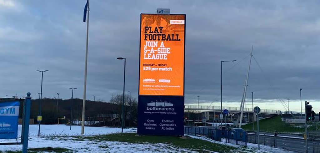 TVC Outdoor LED Screen Bolton Arena Play Football Advert