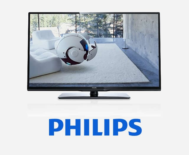 Philips Hospitality Screens displaying a robot watching tv