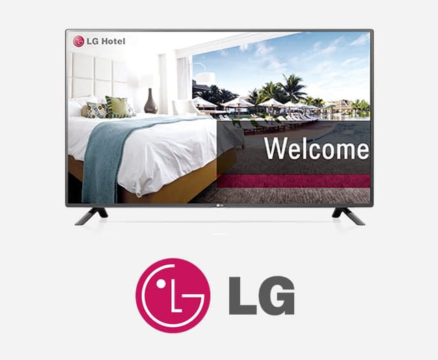 LG Hospitality Screens in a luxurious hotel room looking out over tropical swimming pool
